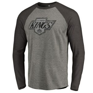 Los Angeles Kings Throwback Logo 1988-1989 Tri-Blend Long Sleeve Raglan T-Shirt