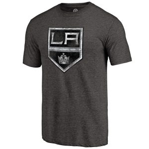 Men's Los Angeles Black Distressed Primary Logo Tri-Blend T-Shirt