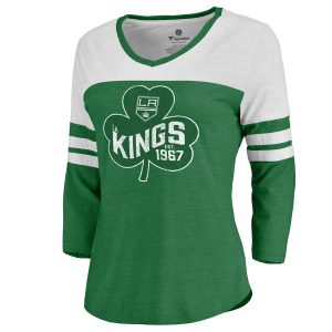 Women's Los Angeles Kings Fanatics Branded Kelly Green St. Patrick's Day Three-Quarter Sleeve T-Shirt