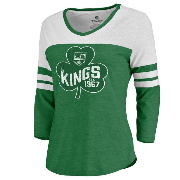 ecca5c1e7b9 Women's Los Angeles Kings Fanatics Branded Kelly Green St. Patrick's Day  Three-Quarter Sleeve T-Shirt