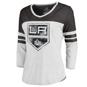 Women's Los Angeles Kings White/Black Distressed Primary Logo Long Sleeve T-Shirt