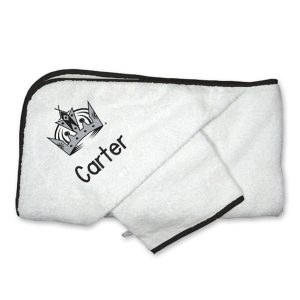 Los Angeles Kings Infant Personalized Hooded Towel & Mitt Set – White