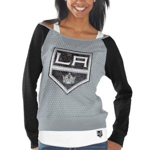 Los Angeles Kings Women's Holey Long Sleeve Top and Tank Top II Set – Gray/Black