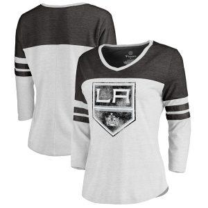 Los Angeles Kings Fanatics Branded Women's Distressed Primary Logo Long Sleeve T-Shirt – White/Black